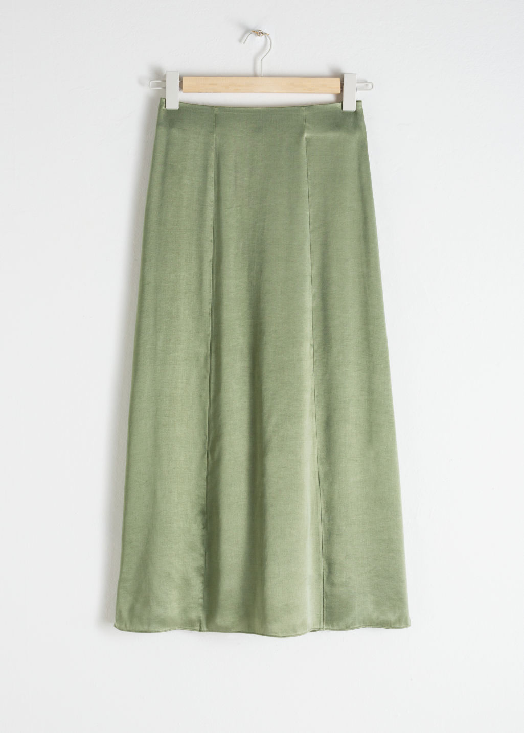 Front image of Stories a-line midi skirt in green