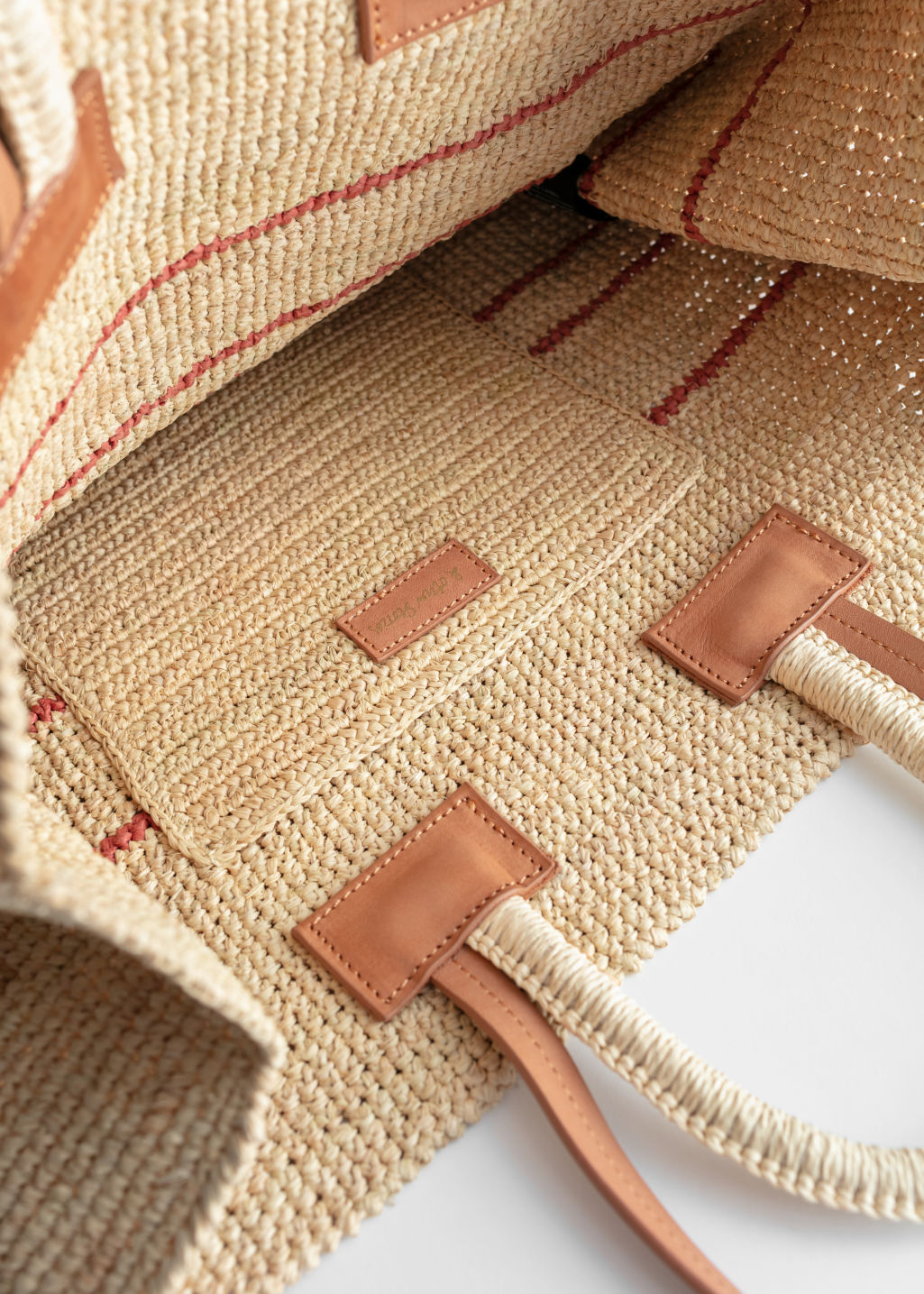 Back image of Stories large woven straw tote in beige