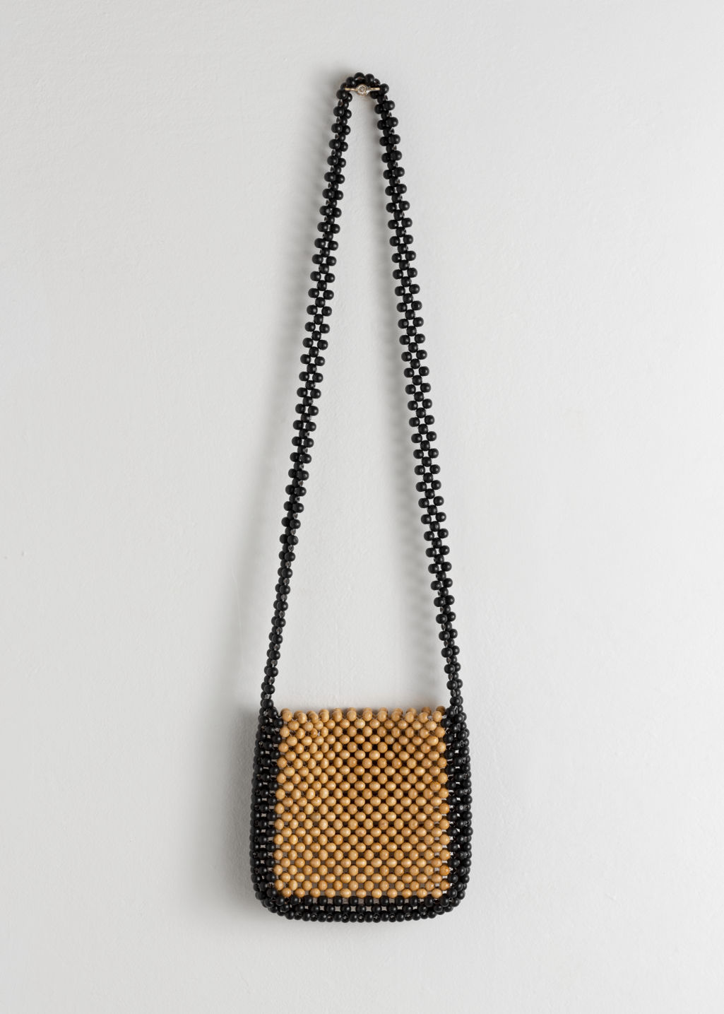 Back image of Stories beaded wood crossbody bag in brown