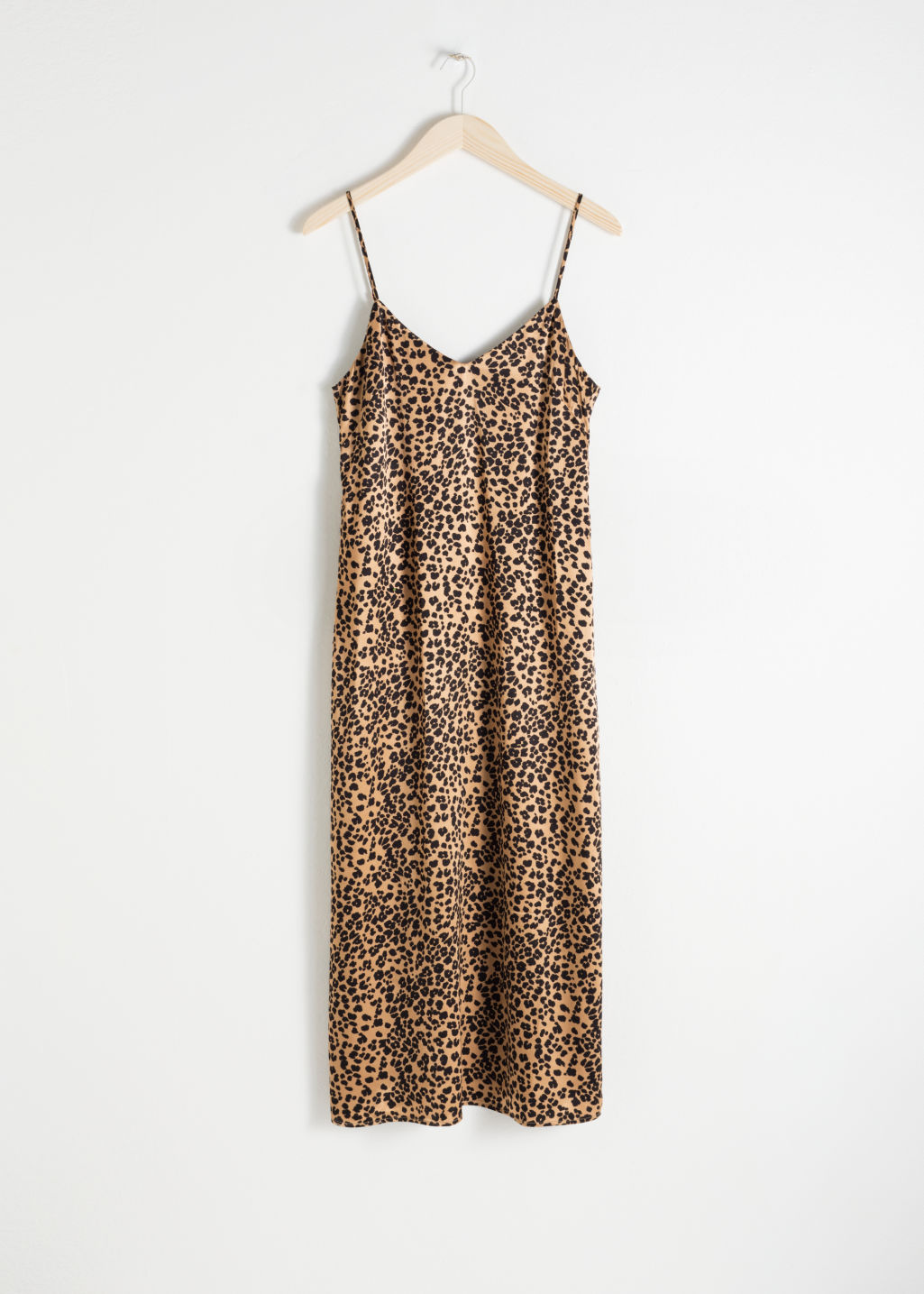 Front image of Stories satin leopard slip dress in beige