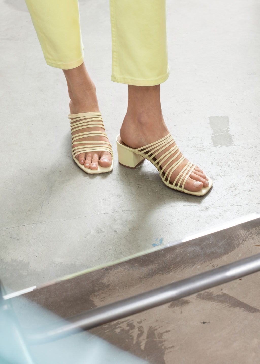 Back image of Stories strappy square toe heeled sandals in yellow