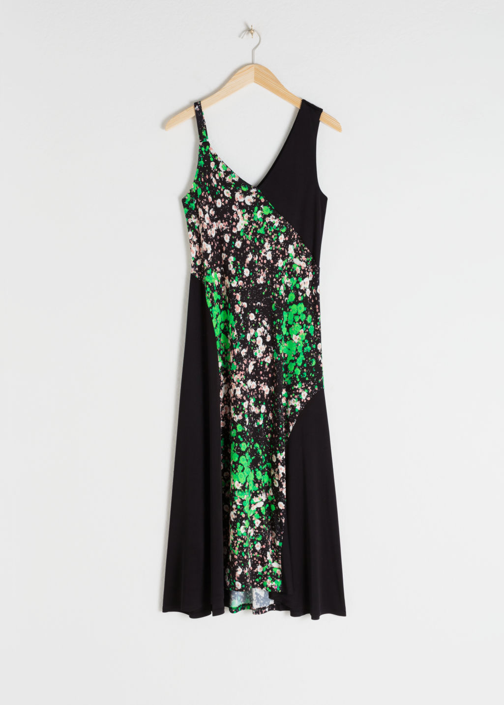Front image of Stories bias cut floral print midi dress in black