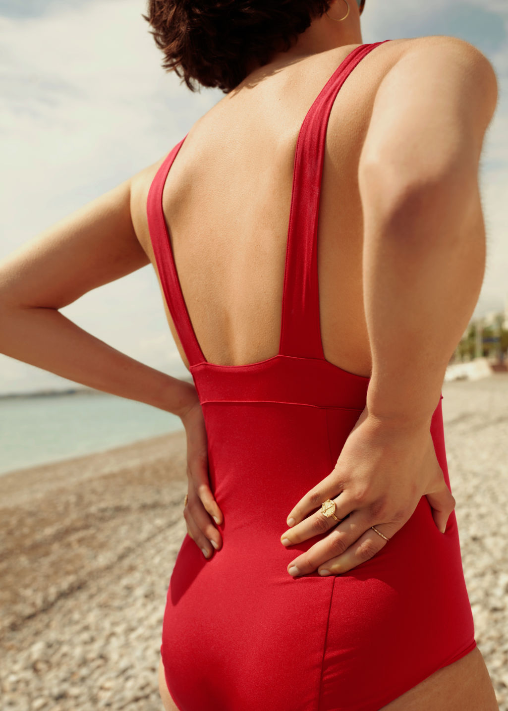 Front image of Stories v-cut ruched swimsuit in red