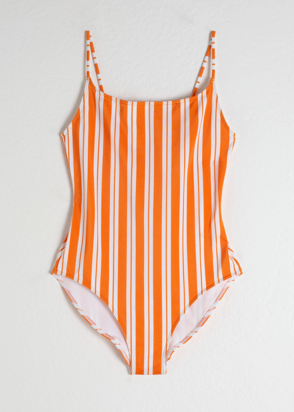 Front image of Stories striped low back swimsuit in orange