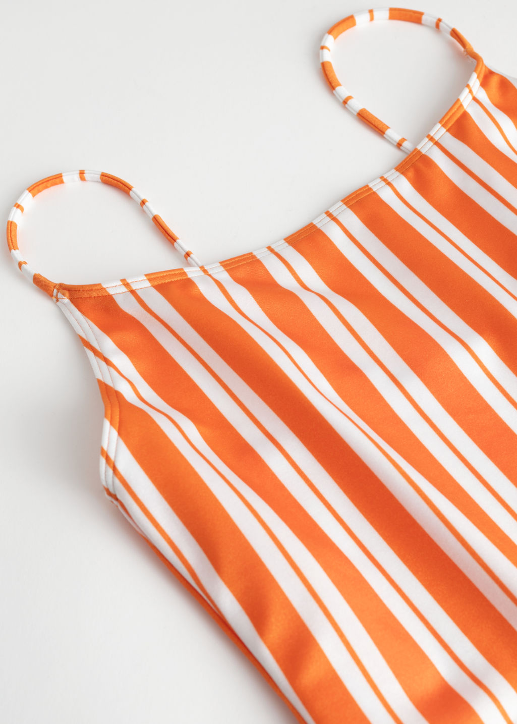 Back image of Stories striped low back swimsuit in orange