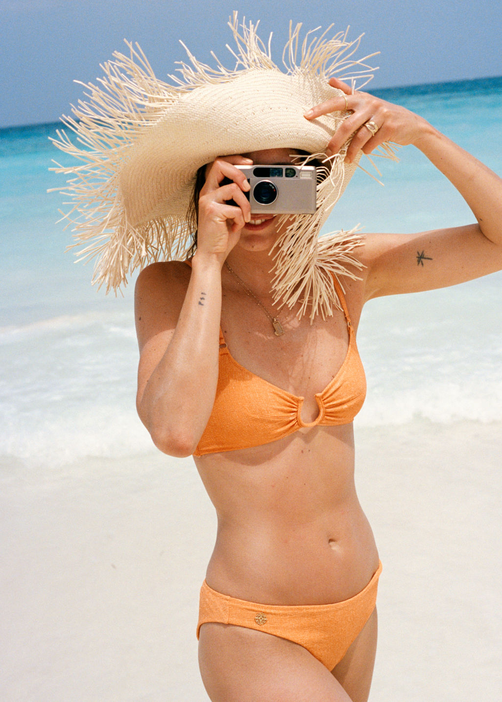 Back image of Stories u-ring glitter bikini top in orange