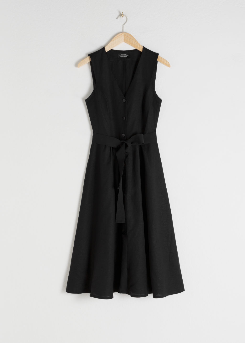 Front image of Stories belted linen blend midi dress in black