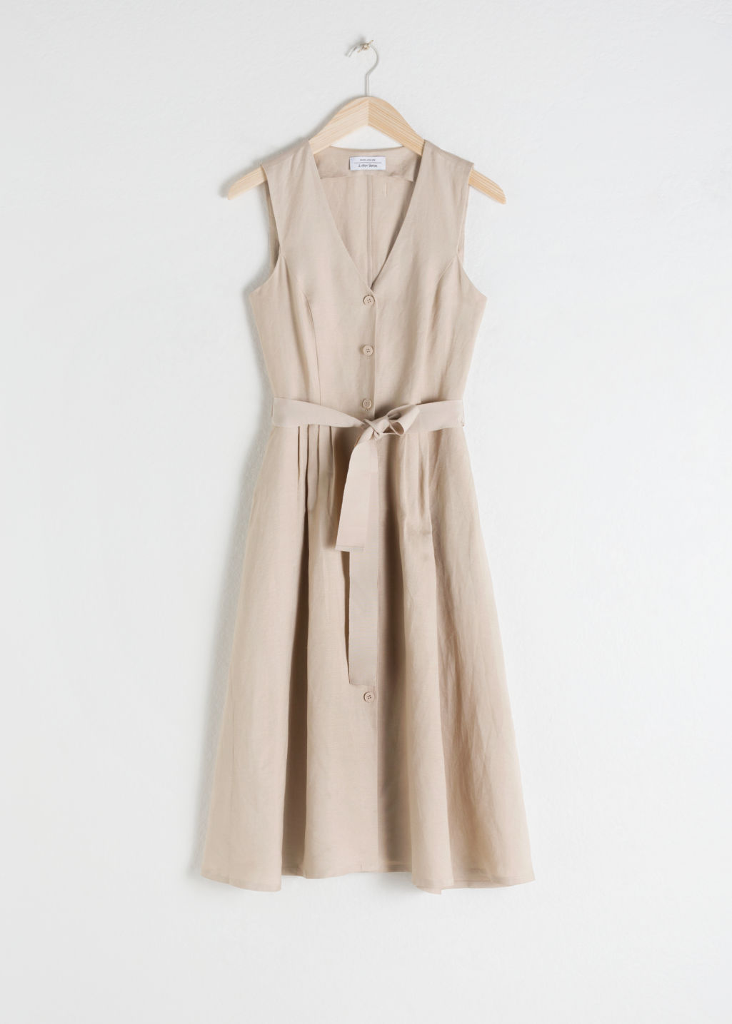 Front image of Stories belted linen blend midi dress in beige
