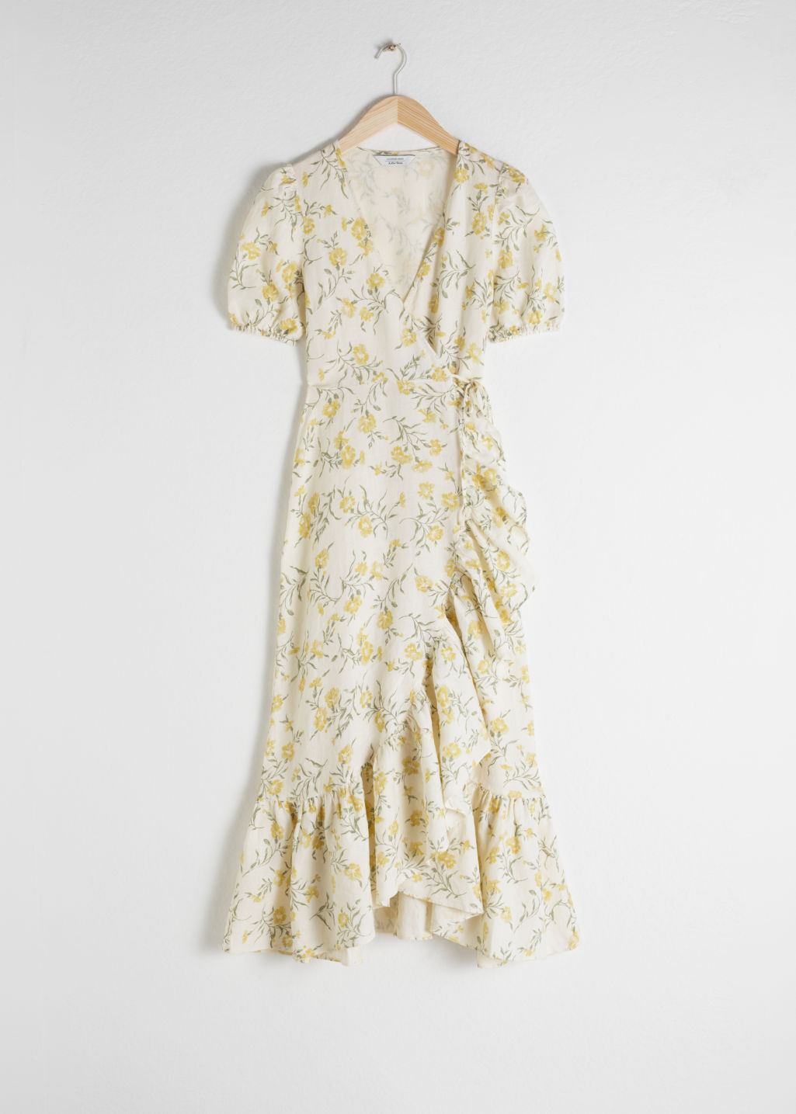 e6adbc4c3b97 Ruffled Linen Wrap Midi Dress - Floral Print - Midi dresses ...