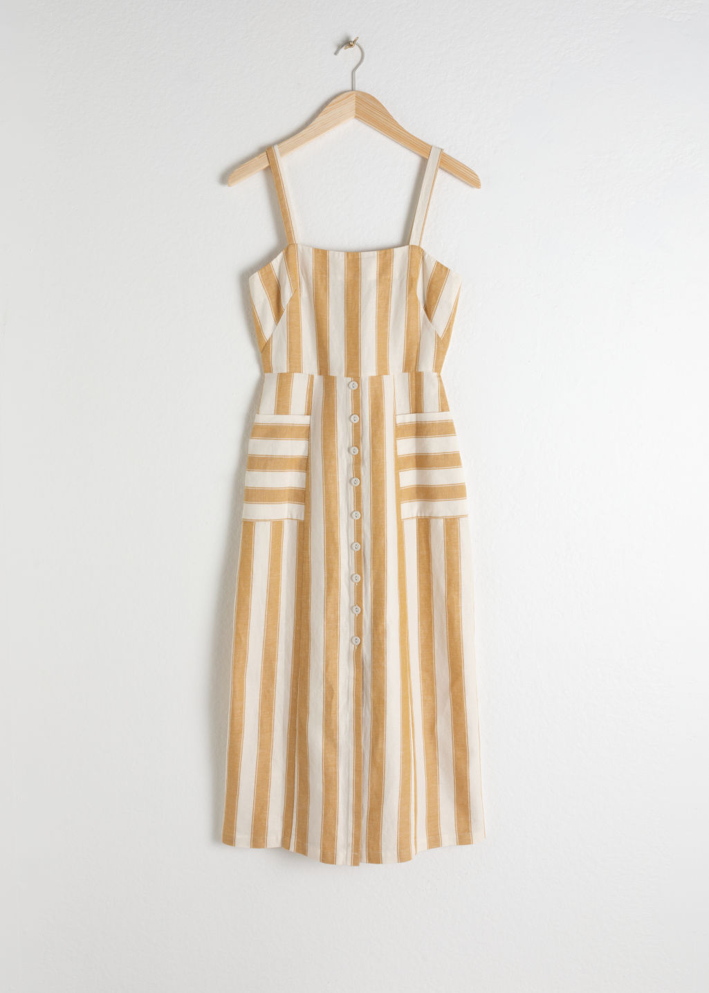 StillLife Front Image of Stories Striped Cotton Linen Midi Dress in Yellow
