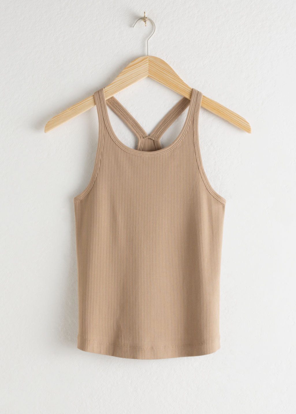 Front image of Stories fitted racer back tank top in beige