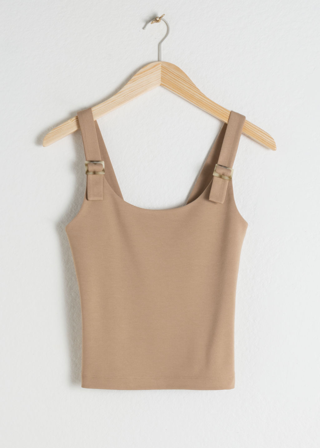Front image of Stories square buckle strap tank top in beige