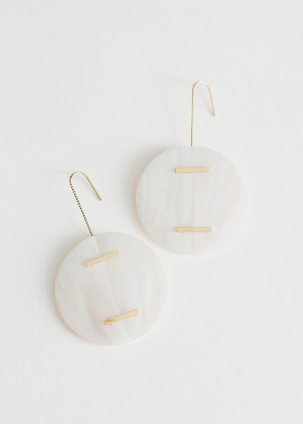 Circle Seashell Hanging Earrings