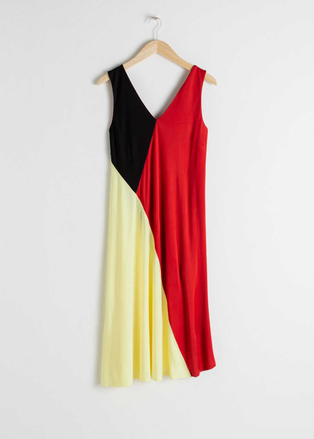 Front image of Stories colour block midi dress in red