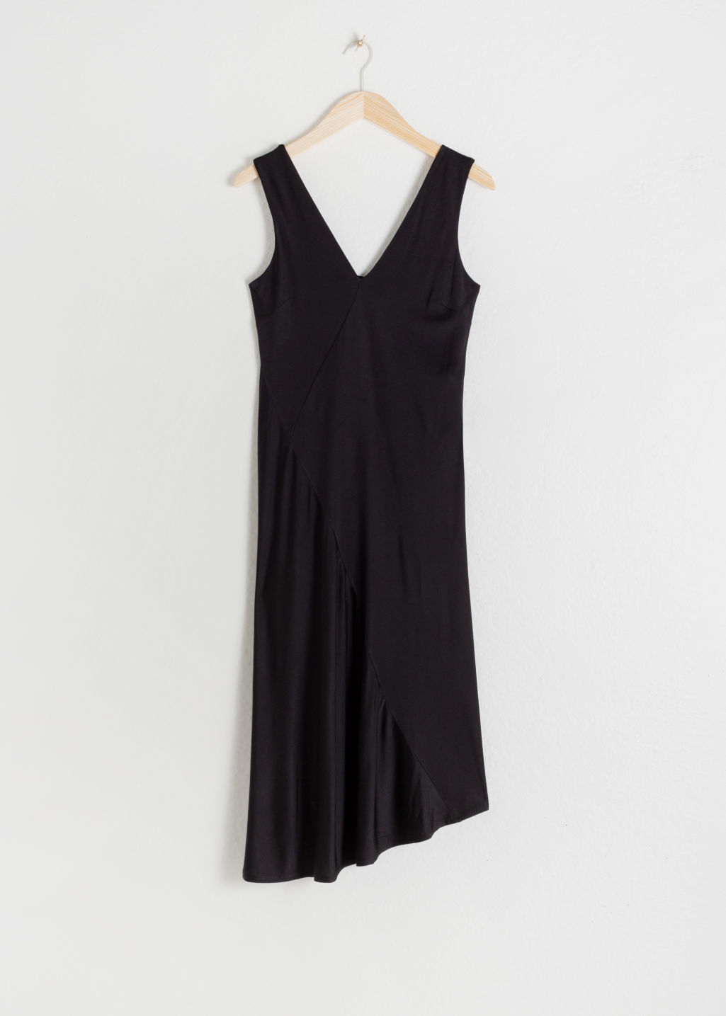 Front image of Stories colour block midi dress in black