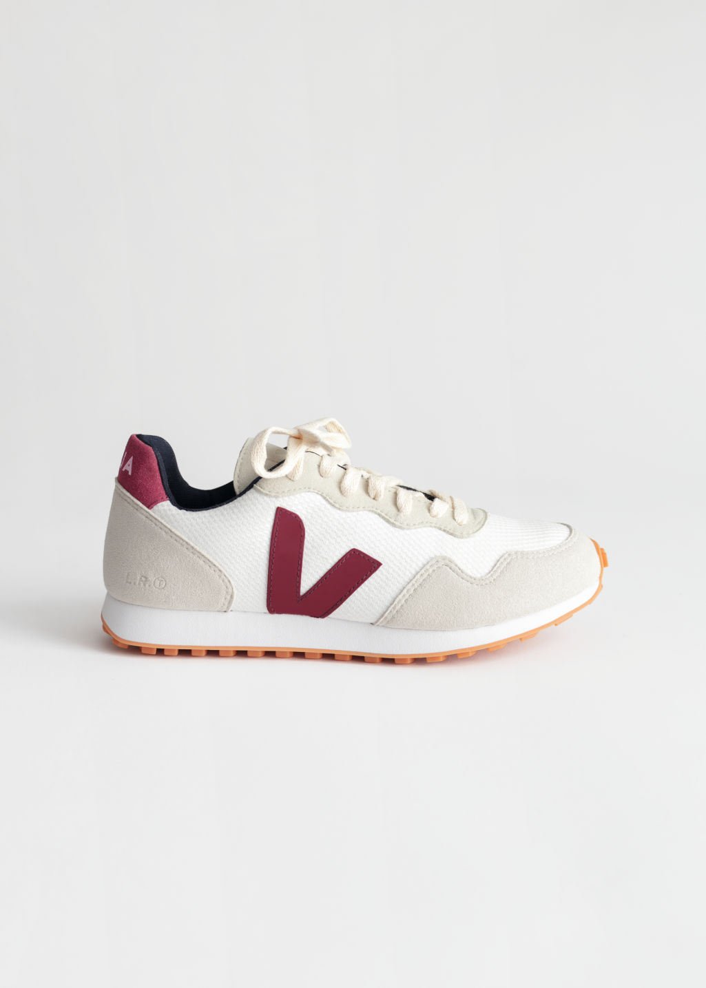 Front image of Stories veja sdu rec sneakers in white