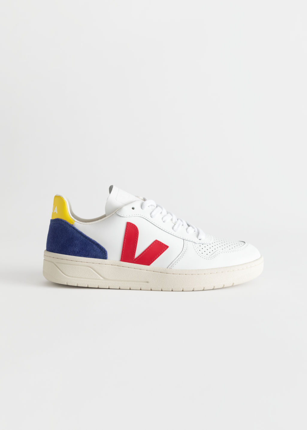 Front image of Stories veja v-10 sneakers in yellow