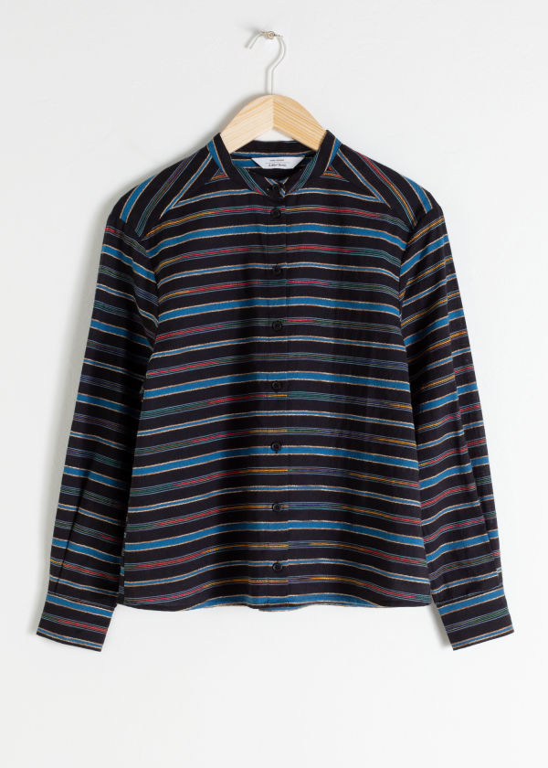 Stripe Cotton Blend Shirt