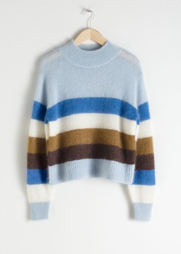 Striped Mock Neck Sweater
