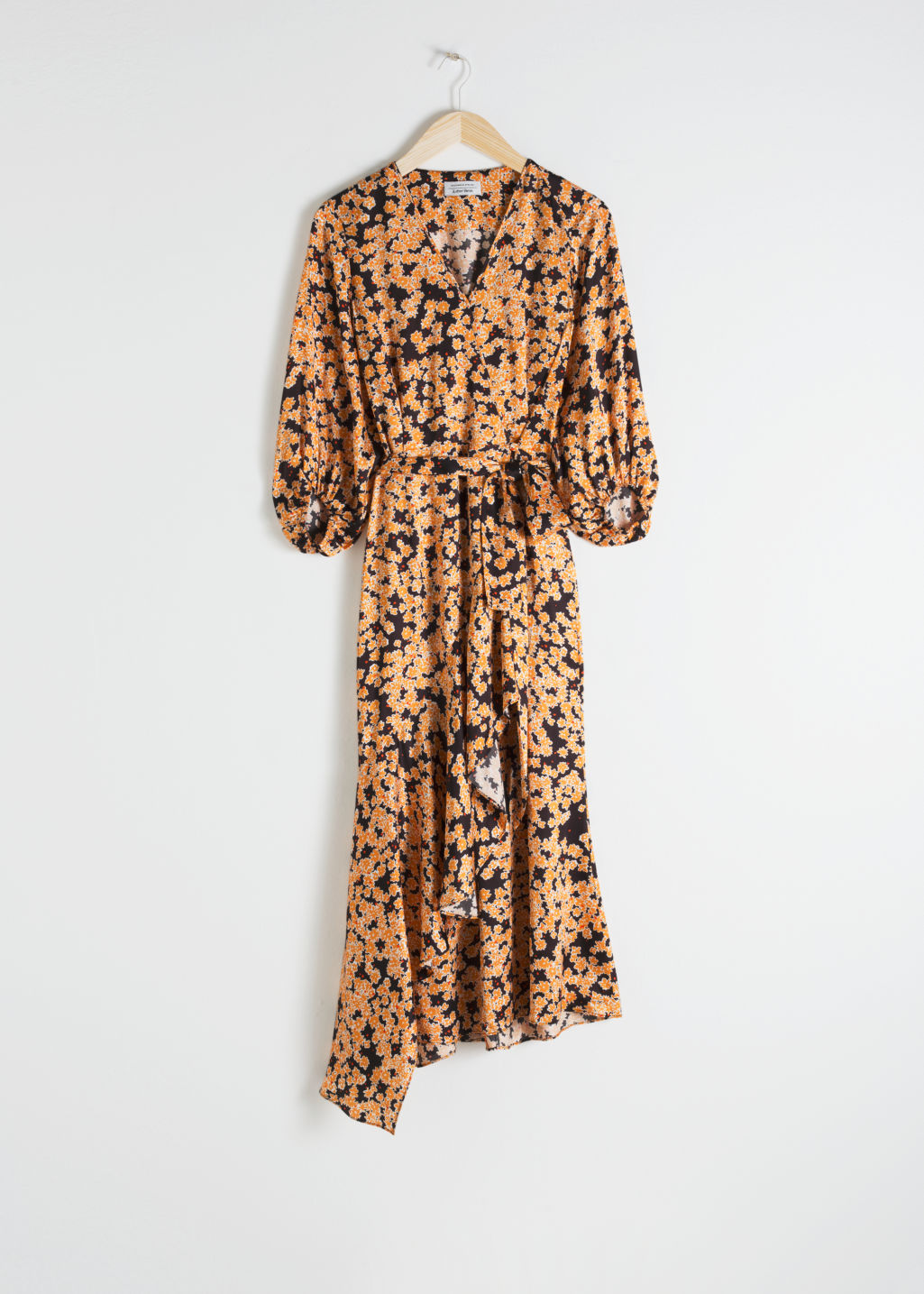 Front image of Stories asymmetric floral midi dress in yellow