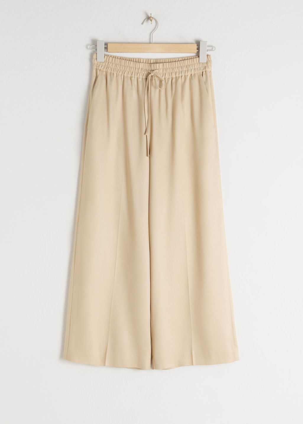 Front image of Stories lyocell drawstring culottes in beige