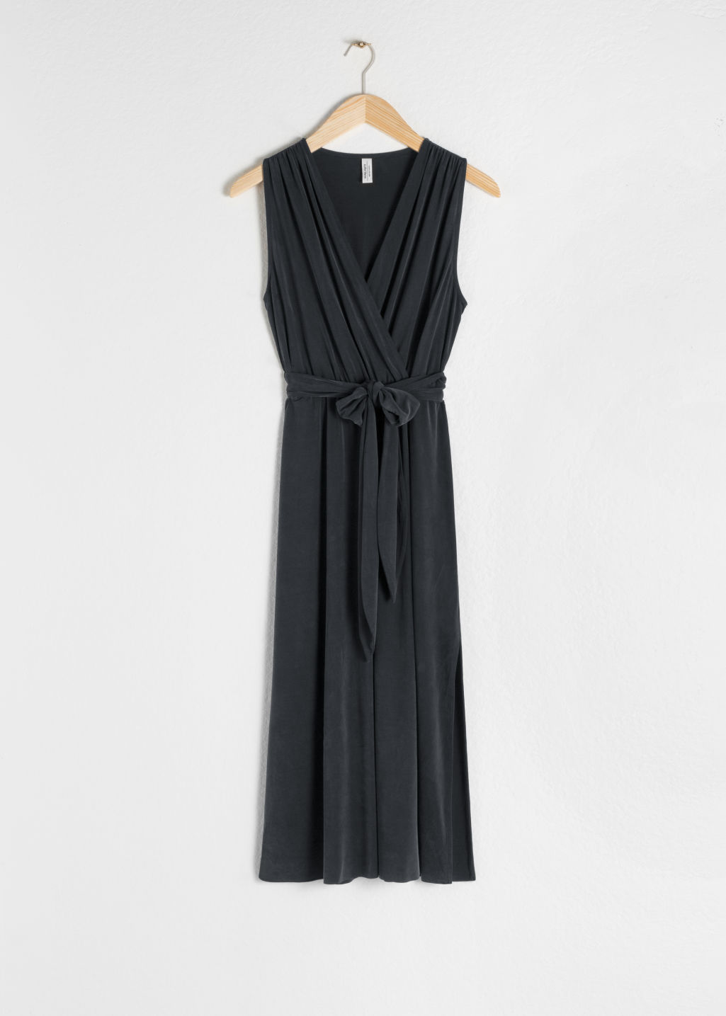 Front image of Stories belted cupro midi dress in black