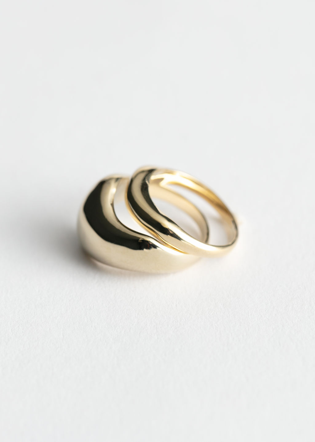 Front image of Stories two pack rings in gold