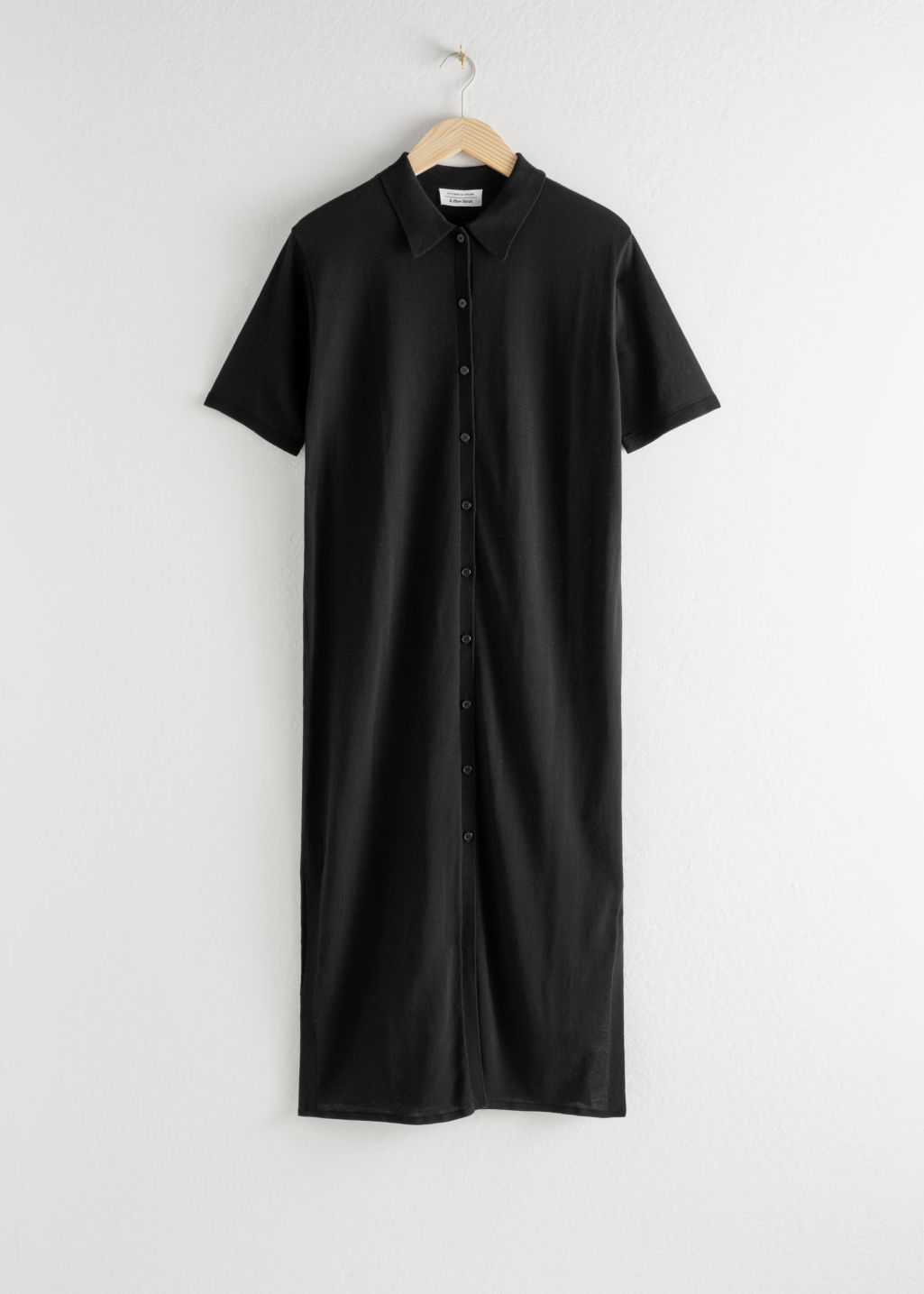 Front image of Stories cotton blend shirt dress in black