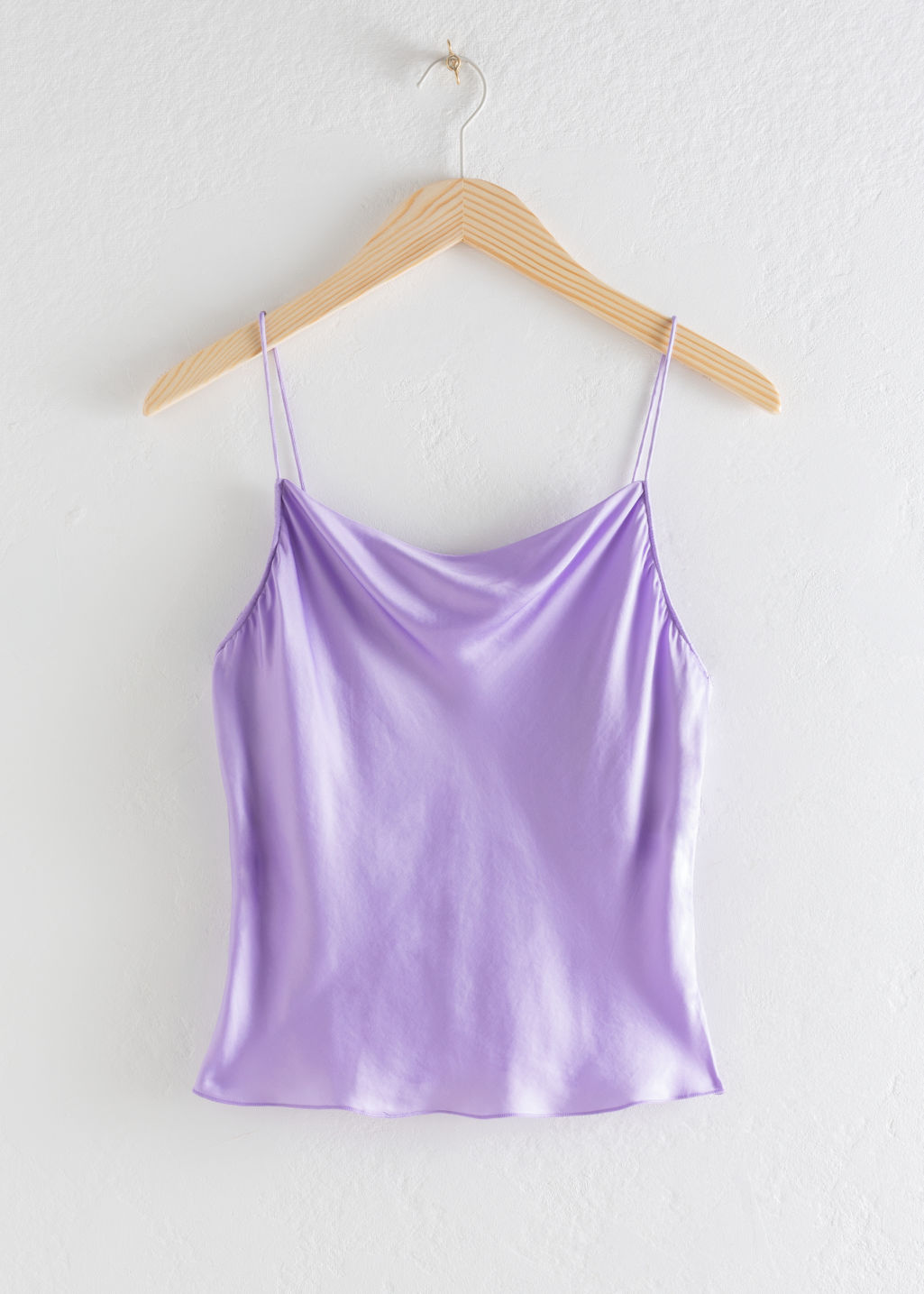 Front image of Stories satin cowl neck tank top in purple