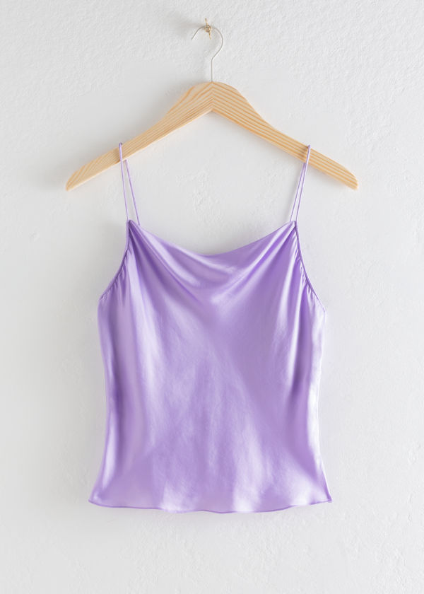 Satin Cowl Neck Tank Top