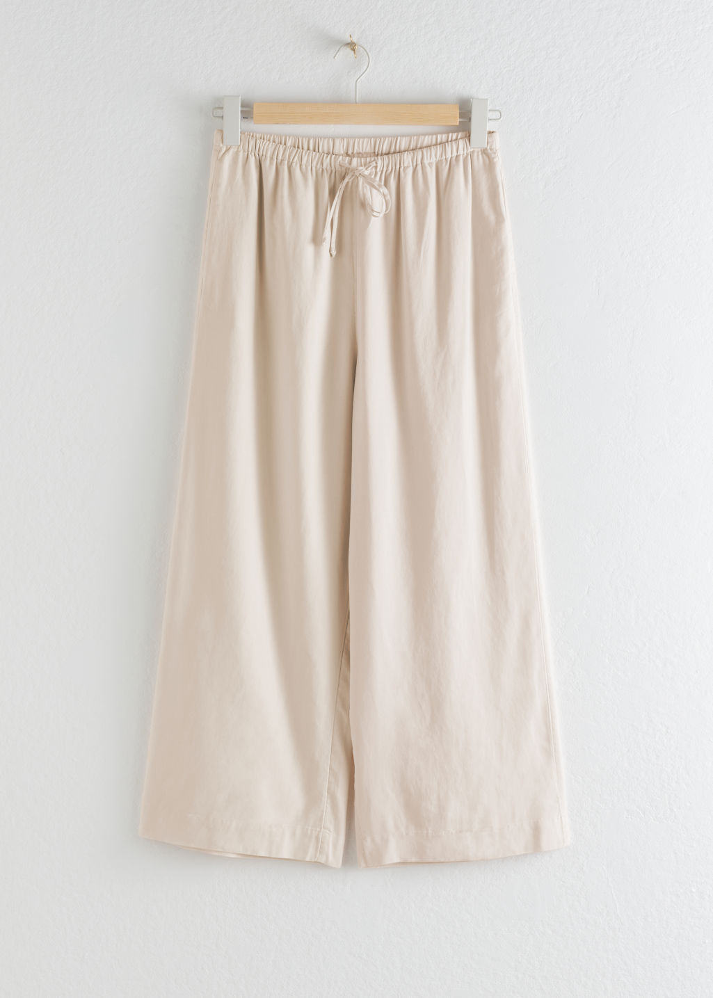 StillLife Front Image of Stories Twill Lyocell Drawstring Culottes in Beige