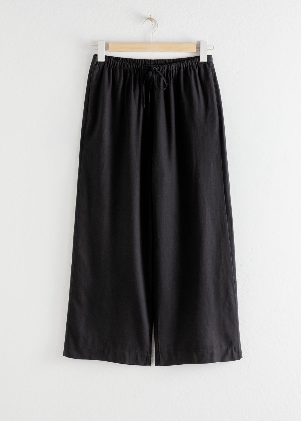 Front image of Stories twill lyocell drawstring culottes in black