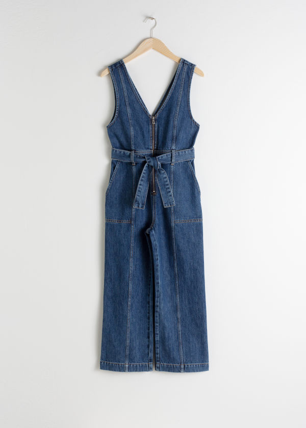 Belted Denim Jumpsuit