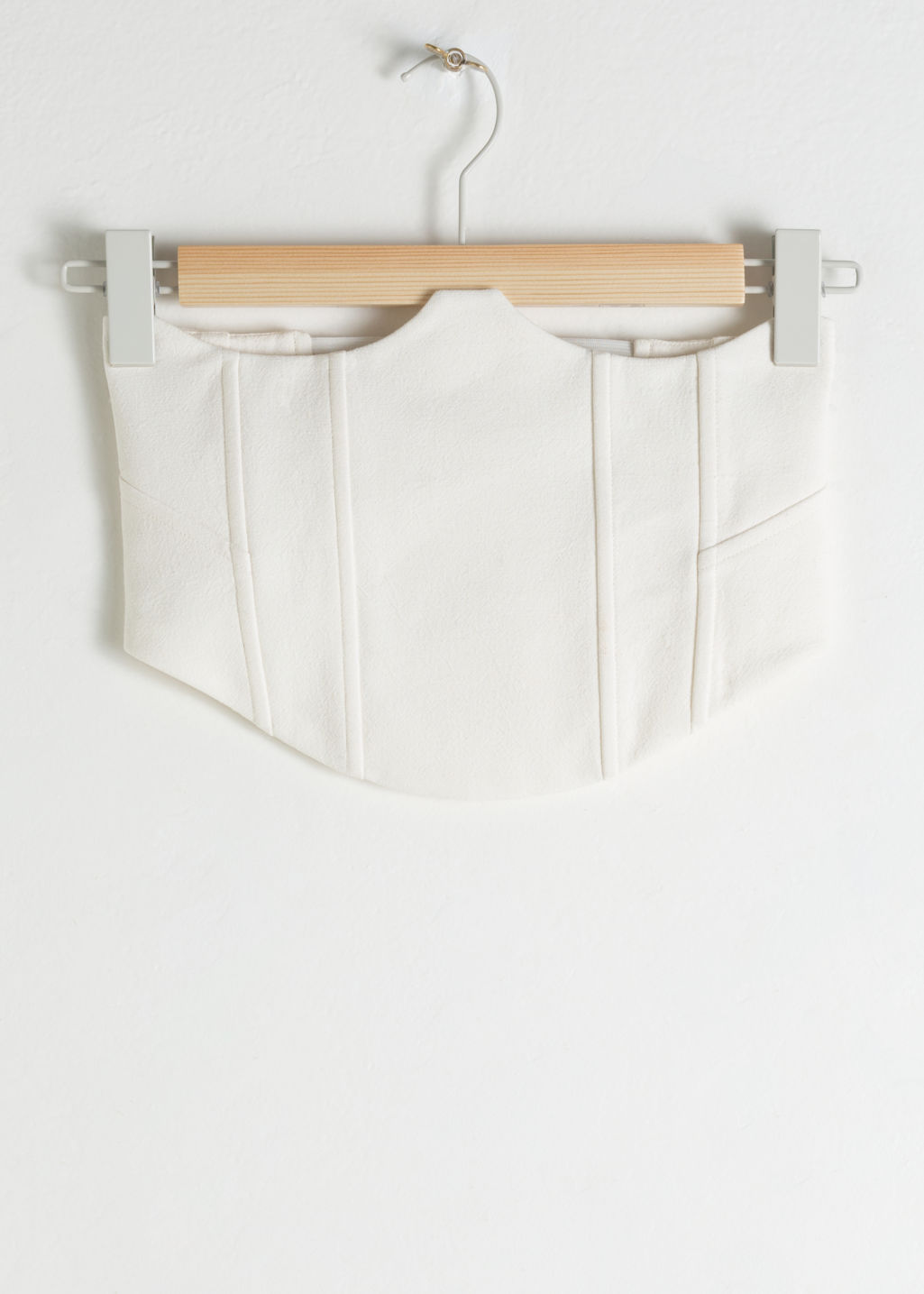 Front image of Stories linen blend corset top in white