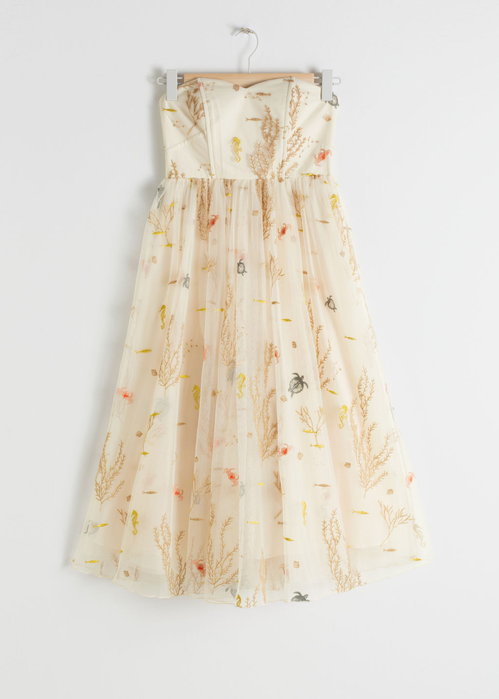 Front image of Stories embroidered recycled polyester tulle dress in beige