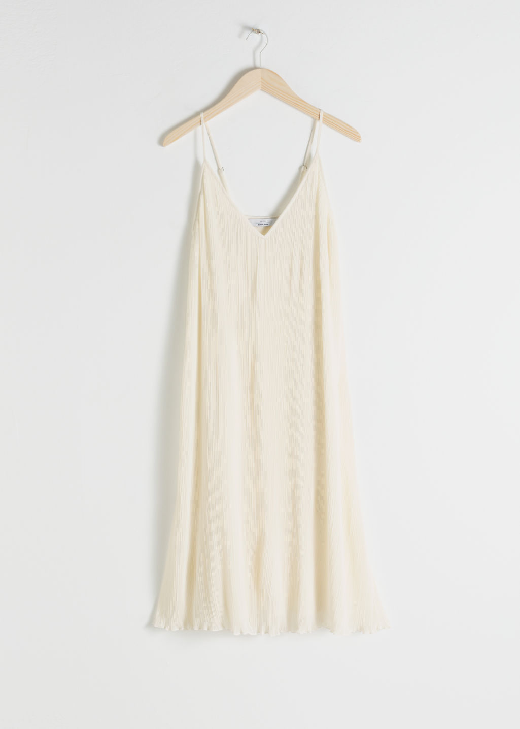 Front image of Stories pleated recycled polyester blend midi dress in white