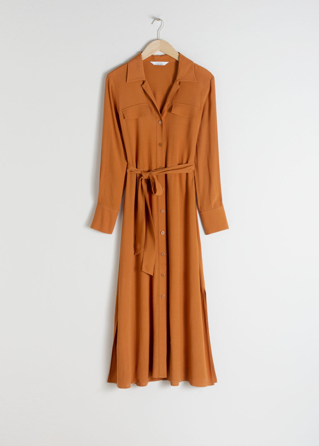 Front image of Stories belted workwear midi dress in orange