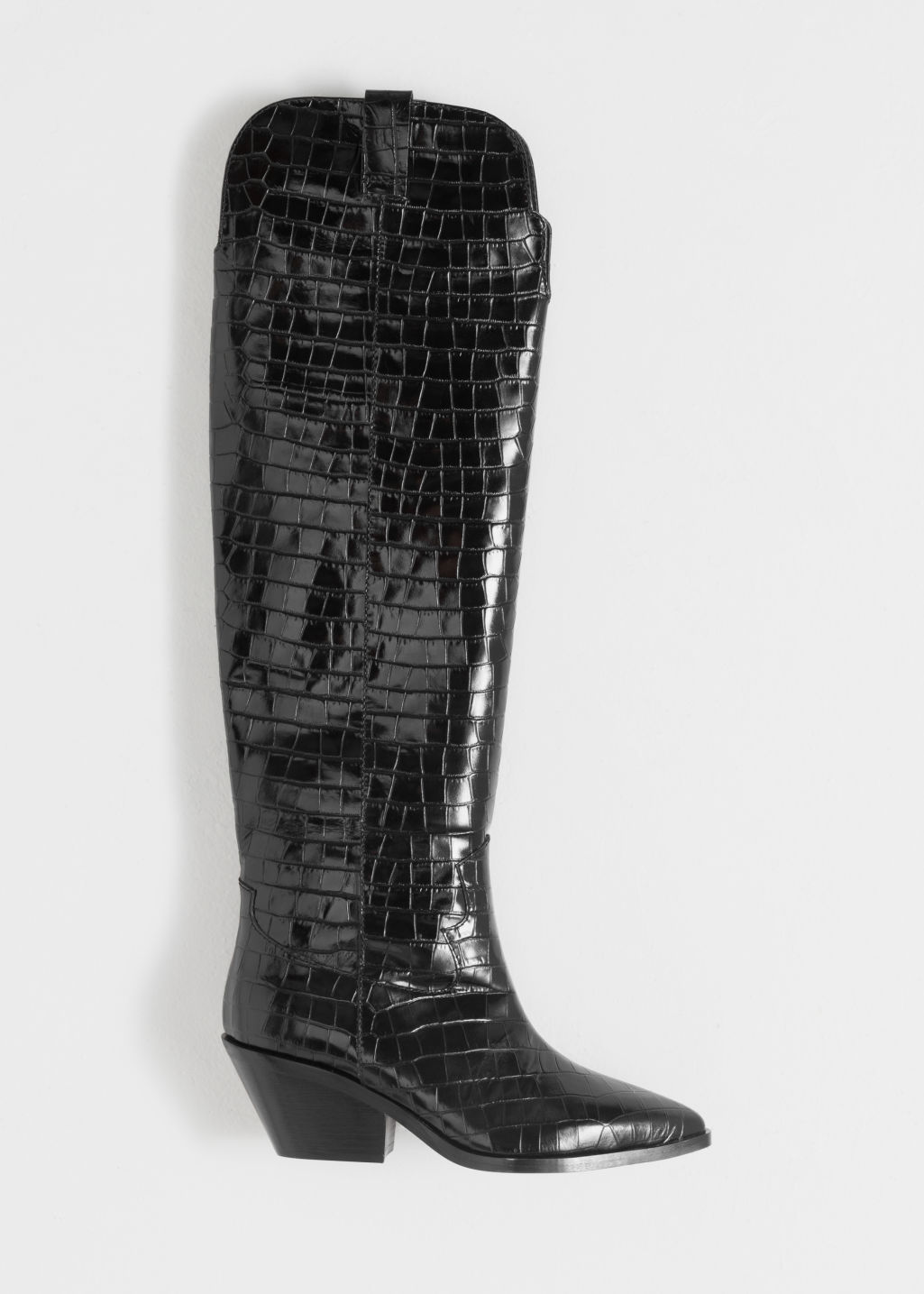 Back image of Stories patent croc knee high cowboy boots in black