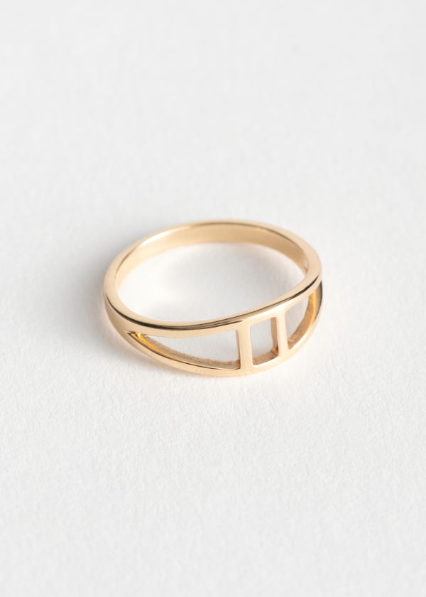 Curved Duo Line Ring