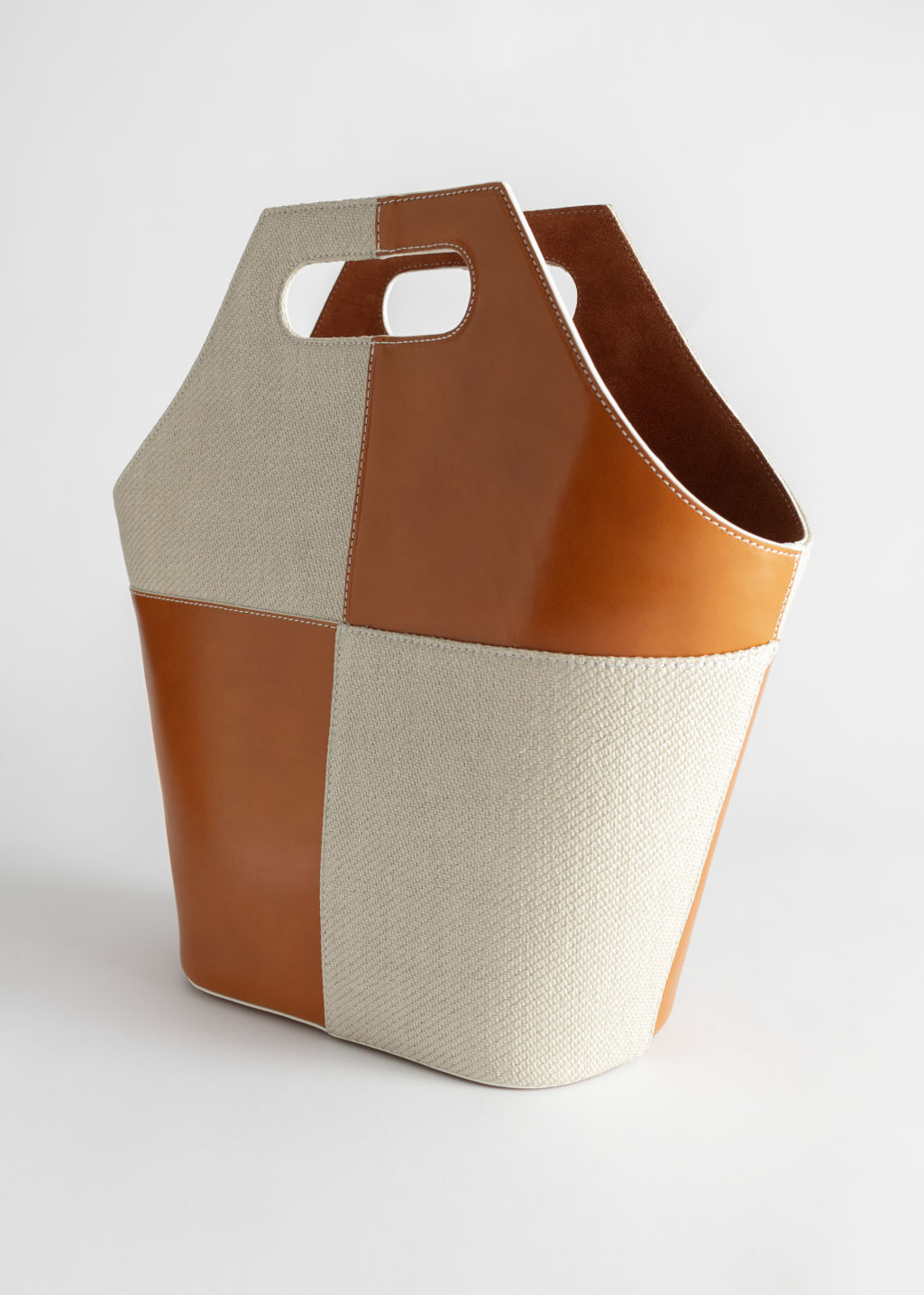Back image of Stories patchwork leather canvas tote in beige