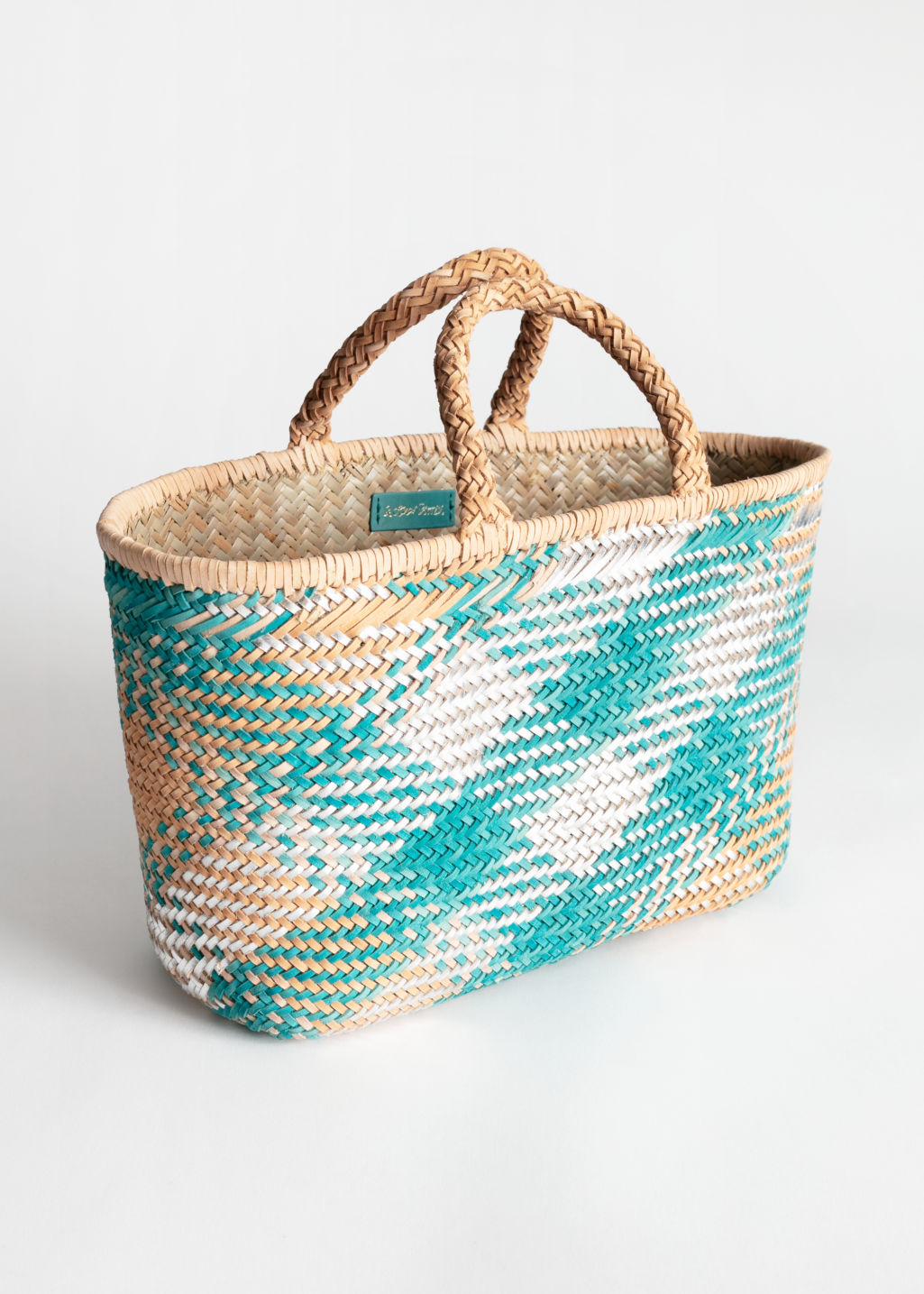 StillLife Front Image of Stories Braided Leather Straw Bag in Beige