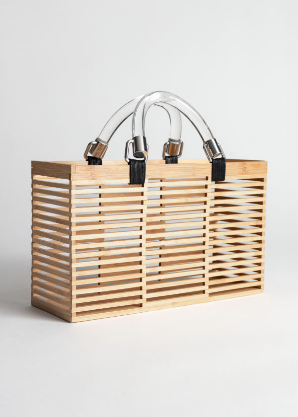 Clear Handle Wooden Tote