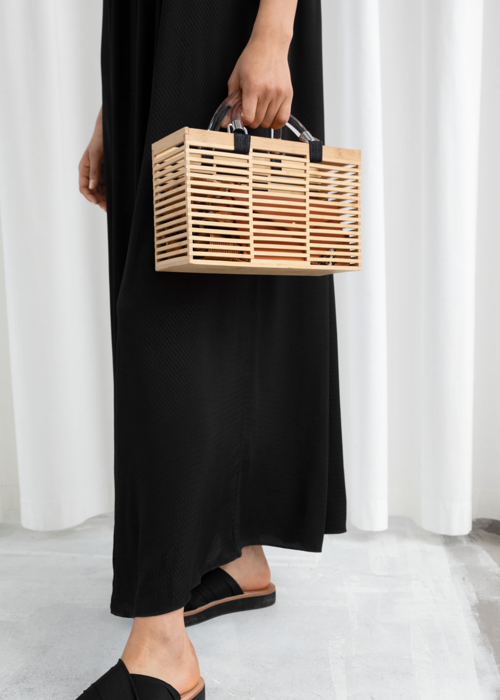 Clear Handle Wooden Tote Beige Totes Other Stories
