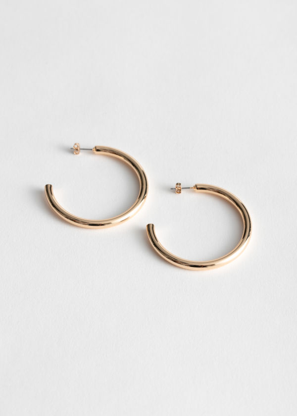 Thick Glossy Hoop Earrings