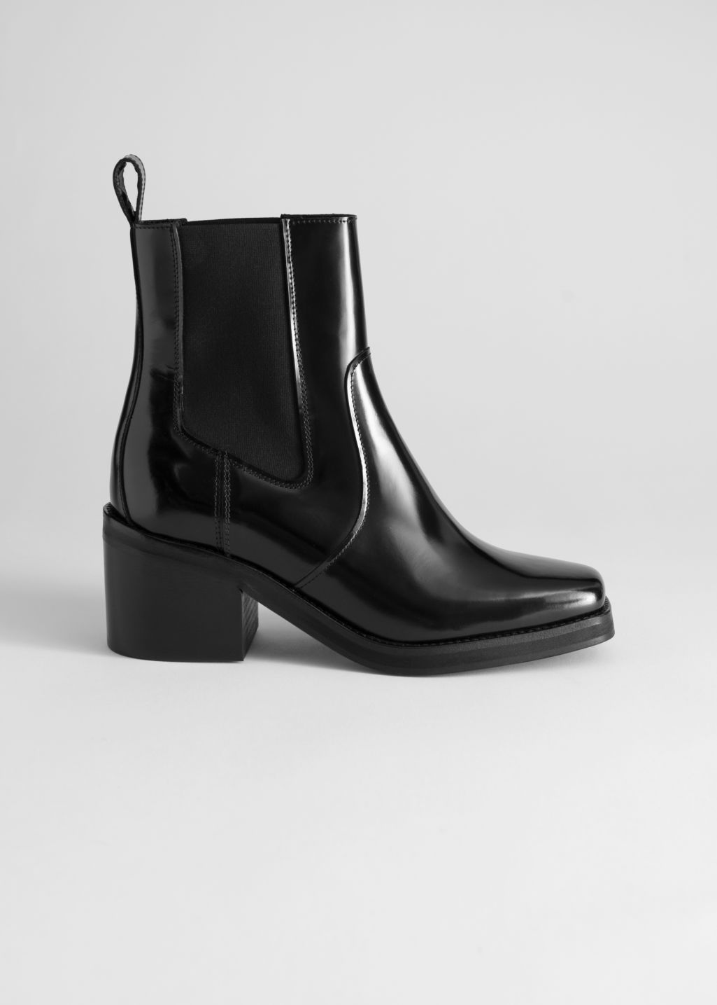 Back image of Stories square toe leather boots in black