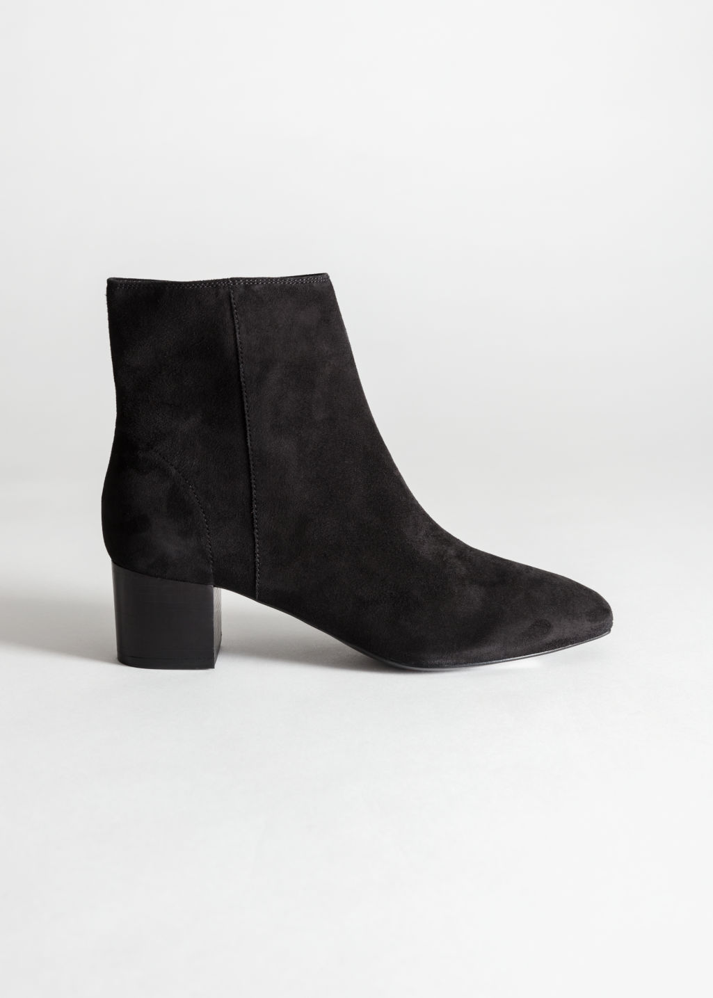 Back image of Stories suede ankle boots in black