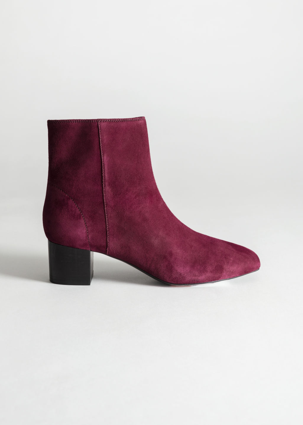 Back image of Stories suede ankle boots in red