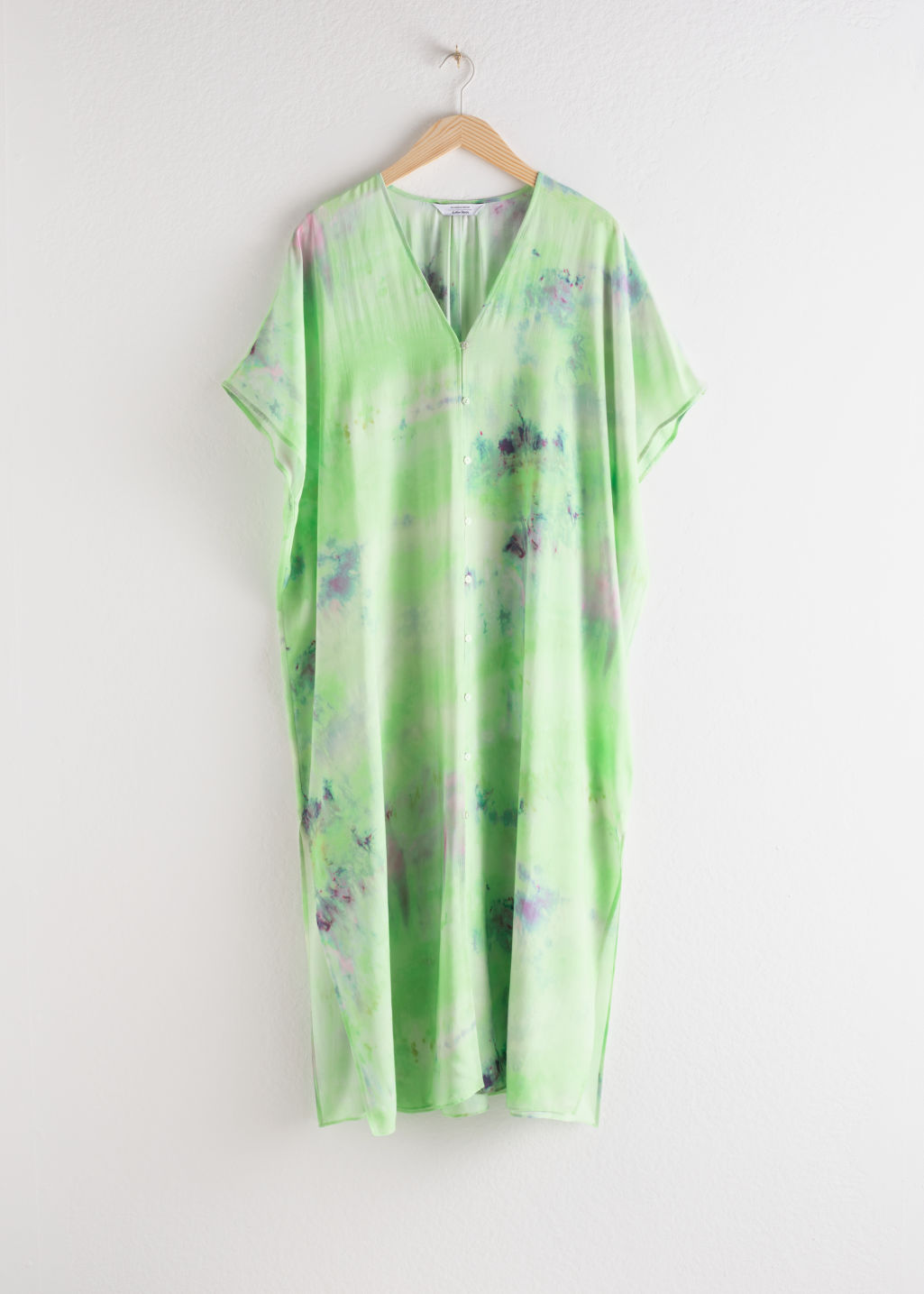 Front image of Stories lyocell blend tie dye kaftan dress in green