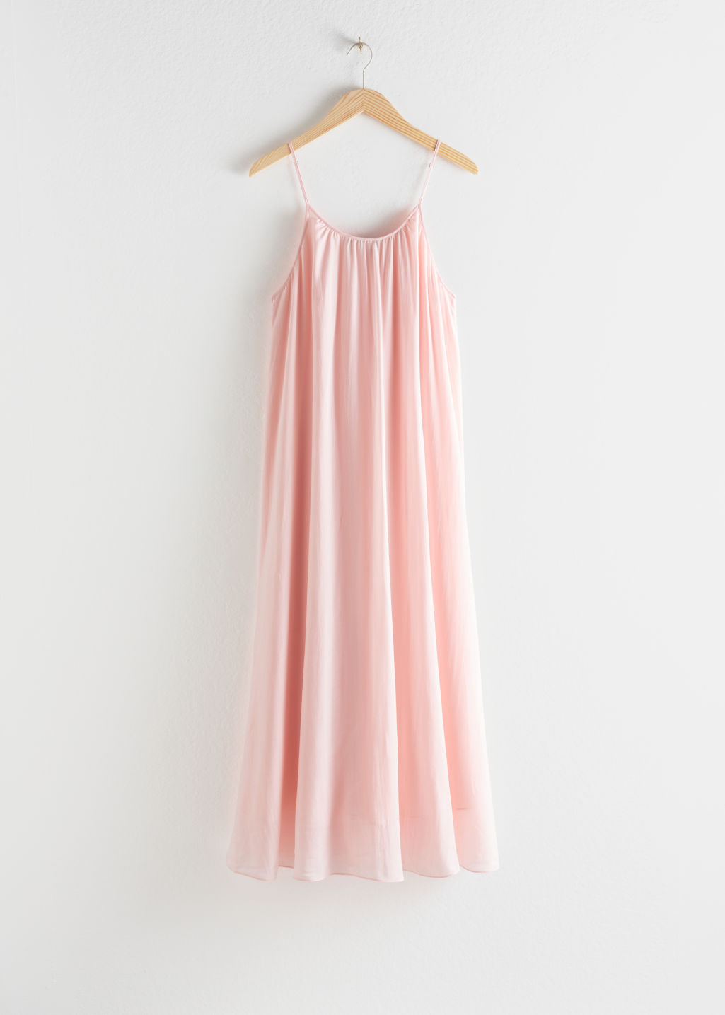 Front image of Stories gathered a-line maxi dress in pink