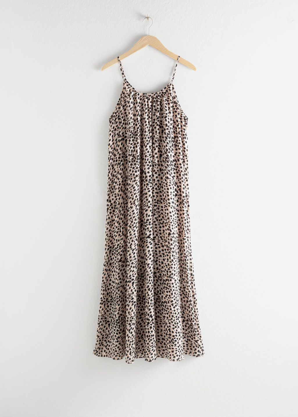 Front image of Stories gathered a-line maxi dress in beige